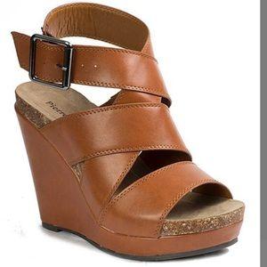 """Tan """"Connie"""" Pierre Dumas Wedge Sandals"""